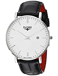 ELYSEE Men's 'Classic-Edition' Quartz Stainless Steel and Leather Casual Watch, Color:Black (Model: 98000.0)