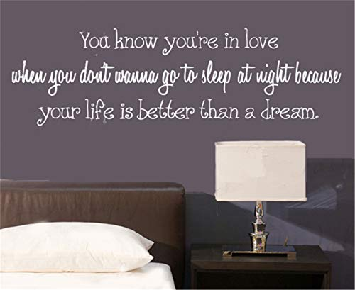 Wall Decor Stickers for Living Room You Know You're in Love When You Don't Wanna Go to Sleep at Night for Bedroom ()