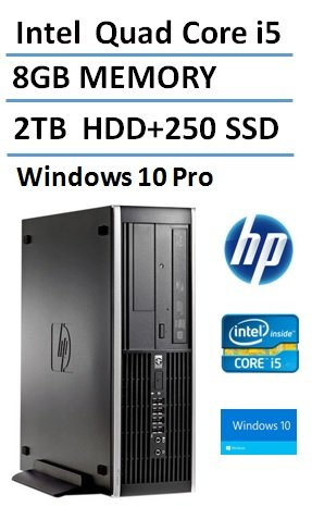 2016 New HP Elite Pro Slim Business Desktop Computer Small Form Factor (SFF) with Intel Quad-Core i5 3.1GHz, 8GB DDR3 RAM, 2TB HDD + 250GB SSD, DVD, Windows 10 Professional (Certified Refurbished)