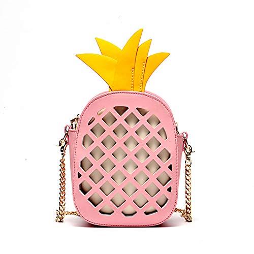 XCXDX Ragazze In Pelle Crossbody Borsa A Forma Di Ananas Creativo Borsa A Spalla Singolo Fashion Bag,Pink Pink