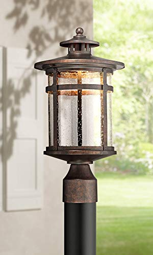 "Callaway Mission Post Light Fixture LED Bronze 15 1/2"" Seeded Glass for Deck Garden Yard - Franklin Iron Works"