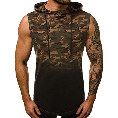URIBAKE ⭐️ Men's Sleeveless Hoodies Camo Gradient Print Irregular Back Hem Summer Cool Pullover Tops Tees ()