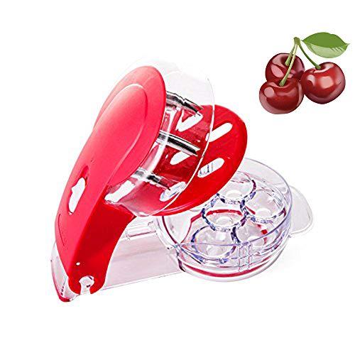 Yillsen Cherry Pitter Stoner & Olive Tool - 6 Cherries seed remover - Red