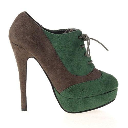 sexy chaussures escarpins fermé bottine botillons marron vert 36