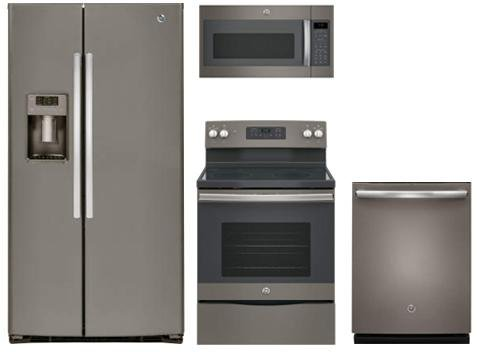 "GE Slate Package with GSE25HMHES 36"" Freestanding Side by..."