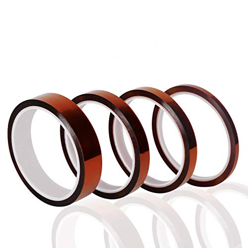 High Temperature Tape 4 Pack Kapton Tape Polyimide High Resistant Tape Sublimation Tape Multi-Sized 5mm/10mm/12mm/20mm x 33M with Silicone Adhesive for Masking, Soldering, Electrical, etc.