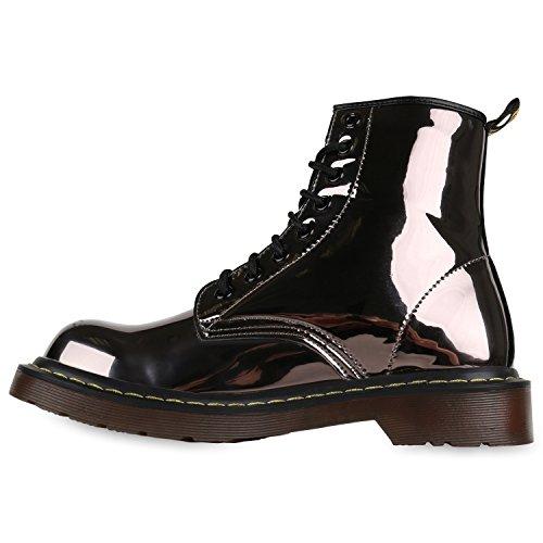 Stiefelparadies Damen Worker Boots Gefütterte Stiefeletten Leder-Optik Schuhe Flandell Grau Metallic Glitzer