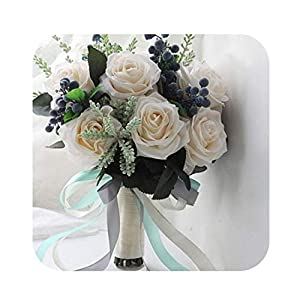 slogan not Fake Flower Vintage Artificial Flowers Waterfall Wedding Bouquets Ivory Cascading Bridal Bouquets De Mariage Roses 95
