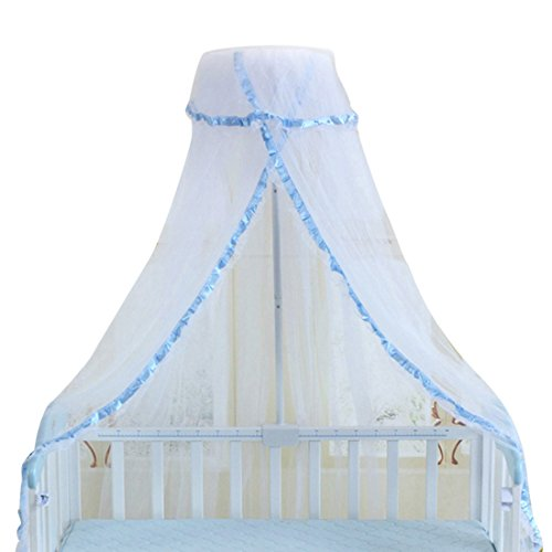 Qianle Baby Crib Canopy Dome Mosquito Netting Kids Round Hanging Curtain Blue