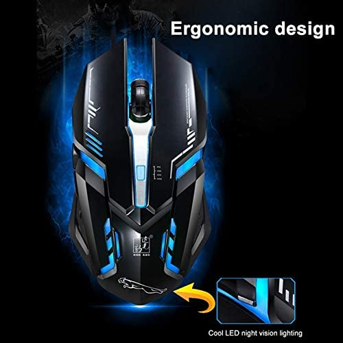 Color : White Black LIYUNSHU V17 USB 2400DPI Four-Speed Adjustable Line Pattern Wired Optical Gaming Mouse with LED Breathing Light Length: 1.45m