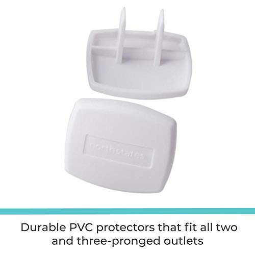 41HGpw2h4wL Toddleroo by North States Plug Protectors   Fits Two and Three pronged outlets for Quick Coverage in Seconds   Baby proofing with Confidence (36-Pack, Soft White)    Now that your crawler is on the move, it's time for childproofing with the Toddleroo by North States Plug Protectors. The 36-pack made of strong and durable PVC helps protect your child from electrical hazards. The last thing you want is fingers and other items poked into an unused outlet. Fits all two- and three-pronged outlets for a simple solution to your tot's curiosity. For quick coverage in just seconds for multiple rooms in your home, the Plug Protectors require no tools to install. Just push into any outlet; that's it. They are also easy to remove and reusable, so if you have a future move planned, simply take them with you. The soft white color blends with standard outlets and stylishly goes with any home decor.