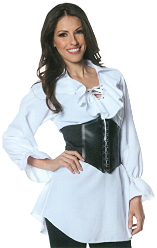 UHC Women's Sexy Pirate Laced Front Blouse Adult Outfit Fancy Costume, XL (14-16) -