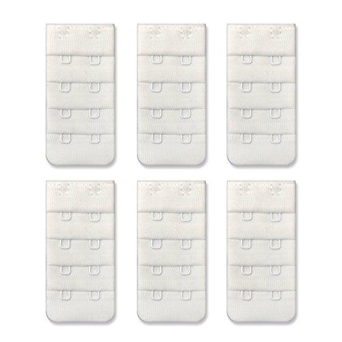 Women Bra Strap Extenders 2 Hook 1//2 inch Soft Bra Extension White Pack of 6pcs