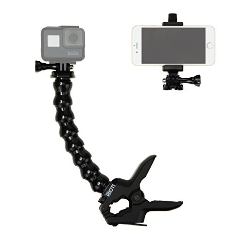 - SIOTI Jaws Flex Clamp Mount with Adjustable Goose Neck for GoPro Hero 6, 5, 4, Session, 3+, 3, 2, 1 Cameras,Action Cameras and iPhoneX,8,8 Plus,7,7 Plus,6S,6S Plus and Other Smartphone