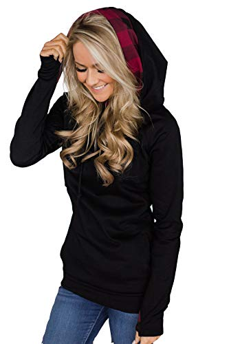 Alelly Women's Long Sleeve Oblique Zipper Drawstring Double Hooded Sweatshirt Pullover ()