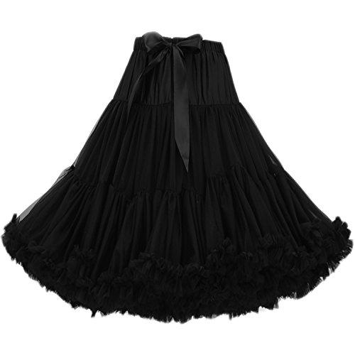 (FOLOBE Women's Knee Length 50s Soft Puffy Tutu Skirts Ballet Costume Tulle Underskirts (24 Colors) Black)