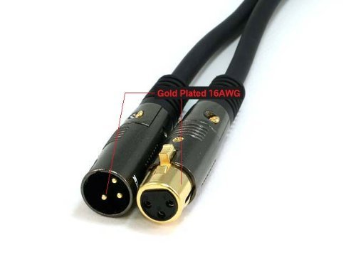 PTCプレミアゴールドハイグレードシリーズXLRオスからXLRメス16 AWG – ゴールドメッキ – 10 ftマイク+相互接続ケーブル B001H4RMNG