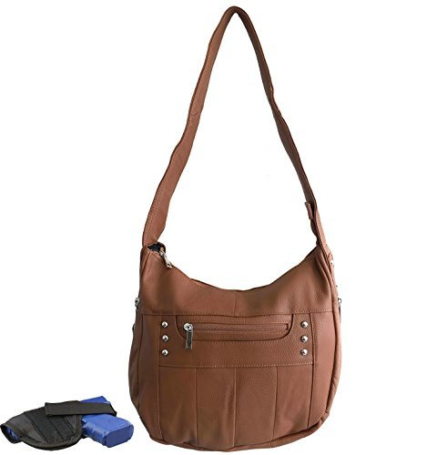 Leather Locking Concealment Purse - CCW Concealed Carry Gun Handbag, Ambidextrous, Light Brown by Roma Leathers