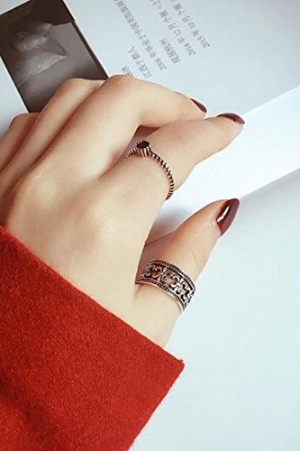 Generic Korean version of the influx of people S925 Thai silver ring women girls lady retro exaggerated personality ring jewelry creative pasta joint width by Generic