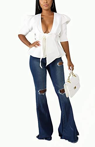 Women Sexy Summer Deep V Neck Short Puff Sleeve Ruffle Hem Self Tie Belted Peplum Blouse Tops Flare Swing T Shirt Clubwear White, XX-Large