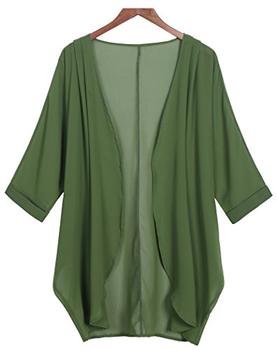 (Tribear Women's Sheer Chiffon Kimono Cardigan Solid Casual Capes Beach Cover up (X-Large, Army)