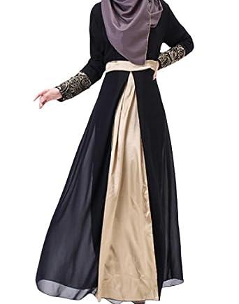 Zimaes Women's Islamic Comfort Soft Long-Sleeve Maxi Muslim Dress
