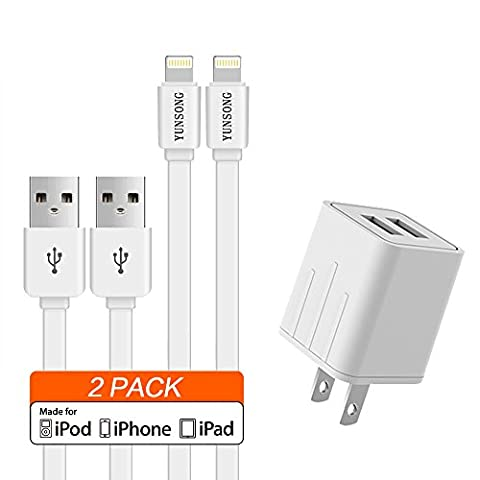 Charger, 4.2A 21W Dual Port Travel Power Adapter with (5ft) YUNSONG Lightning Cable [2-PACK], USB Data Charge Sync for IOS 10 iPhone 7/6S Plus, 5S/SE, iPad (Amazon Iphone 5s At&t Unlocked)