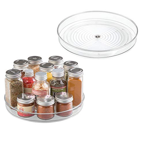 mDesign Lazy Susan Turntable Food Storage Container for Cabinets, Pantry, Refrigerator, Countertops, BPA Free - Spinning Organizer for Spices, Condiments, Baking Supplies - 9 Round, Pack of 2, Clear