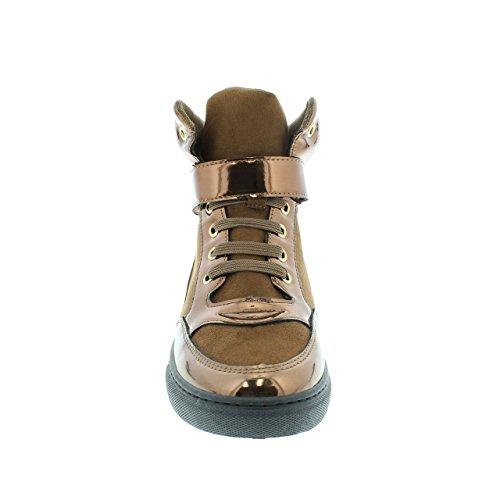 Moca Sneaker-02 Femmes Casual Faux Cuir Haut Haut Sneaker Bronze