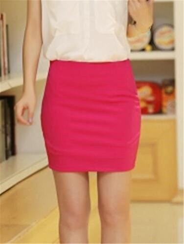 Femelle Rosy2 Femme Mini Haute Court Slim Grande Unie Stretch Haililais Taille en Jupe Jupe Jupe Fit Jupe Couleur Skirt Jupe Taille t xOfn1
