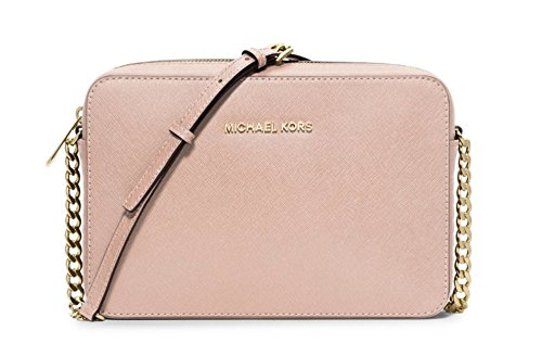 Michael Kors  Women's Jet Set Crossbody Leather Bag, Ballet, Large (Big Crossbody Bag)