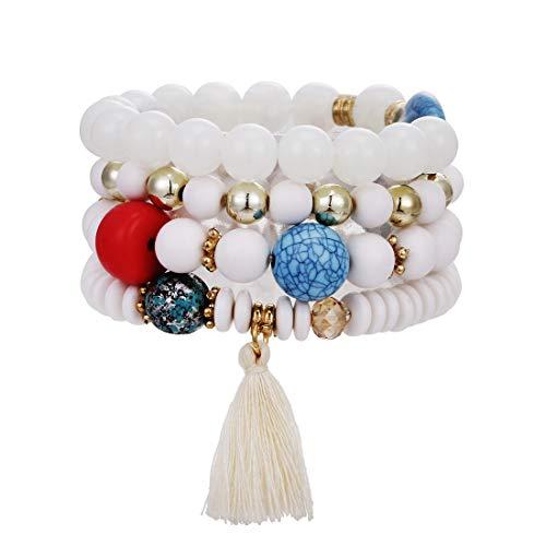 (VONRU Boho Bead Stackable Bracelets for Women - Vintage Multi Layer Colorful Beads Bracelets Bohemian Anklets Charm Birthstone Yoga Chain Stretch Beach Bangle (4pcs/Set White Tassel Bracelet))