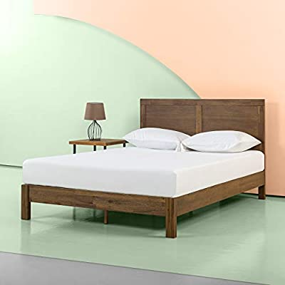 Zinus 12 Inch Acacia Wood Platform Bed with Headboard / No Boxspring Needed / Wood slat, Twin - Enjoy this beautiful wood platform bed with strong mattress support, no box spring needed Acacia wood frame with attached headboard features strong center metal support structure to support any memory foam, latex, or spring mattress Easy Assembly with all needed tools included - bedroom-furniture, bedroom, bed-frames - 41HGryzaJbL. SS400  -