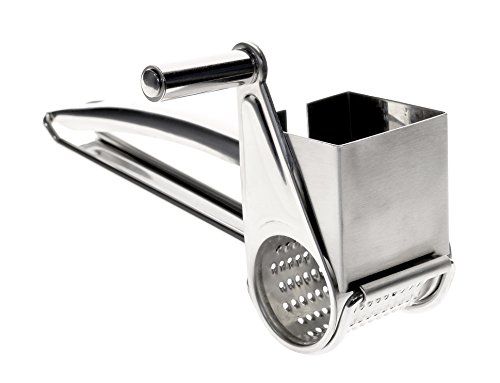 PeakHut Premium Quality Rotary Cheese Grater - Stainless Steel - (Grate Garlic Slide)