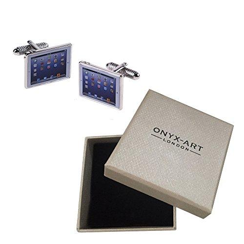 Onyx Art Silver Ipad Cufflinks In Deluxe Gift Box Tablet