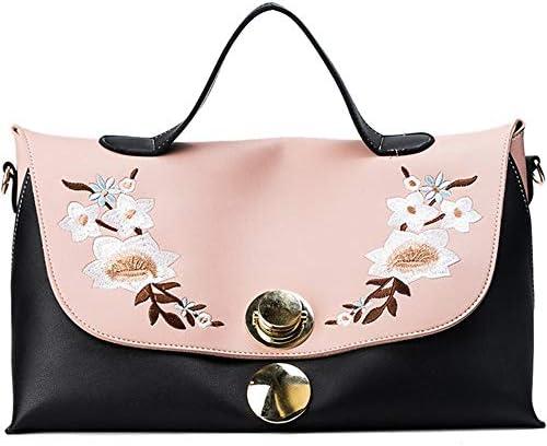 シンプルなバッグ女性の新しいハンドバッグ大きな袋ヨーロッパやアメリカの刺繍のヒットカラーカジュアルなワンショルダーメッセンジャーバッグ大容量の女性のバッグトレンディな人格かわいいです (Color : Black)