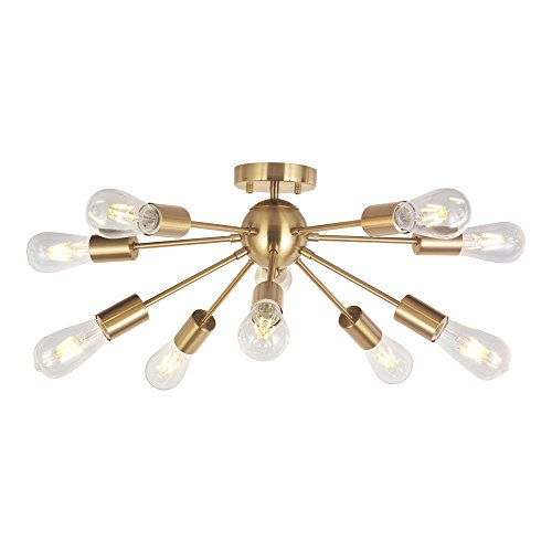 Modern Sputnik Chandelier Lighting 10 Lights Brushed Brass Semi Flush Mount Ceiling Light Gold Mid Century Pendant Lighting by BONLICHT