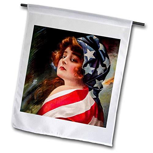 Flag Vintage Patriotic Postcard - 3dRose Scenes from The Past - Postcard - Patriotic 1916 World War I Vintage Pin-Up Betsy Ross Americana - 18 x 27 inch Garden Flag (fl_300250_2)