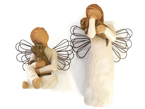 - Willow Tree Angel of Friendship Figurine Bundle with Angel of Comfort Statue - Best Pet Lover Gifts, Pet Memorials, Loss of Pet Sympathy Gifts