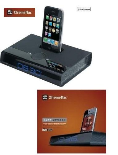 Xtreme Mac Luna Voyager Speaker System for iPhone and iPod and Alarm Clock (Black) 749720019977 by M.A.C