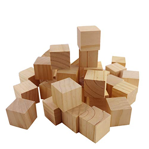 PRALB 30PCS Wooden Cubes - 4CM(1.57Inch) - Wood Square Blocks for Puzzle Making, Photo Blocks, Crafts & DIY Projects - Baby Wood Square Blocks. (Square Blocks Wood)