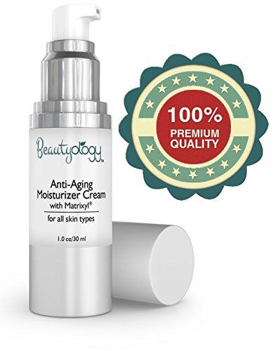 Anti Aging Cream & Hydratant quotidien pour le visage avec Matrixyl - Utilisation jour et nuit sur le visage et le cou. Travaux sur sec ou la peau grasse pour aider à réduire rides et ridules - Produits de soins de la peau Beautyology naturel font de gran