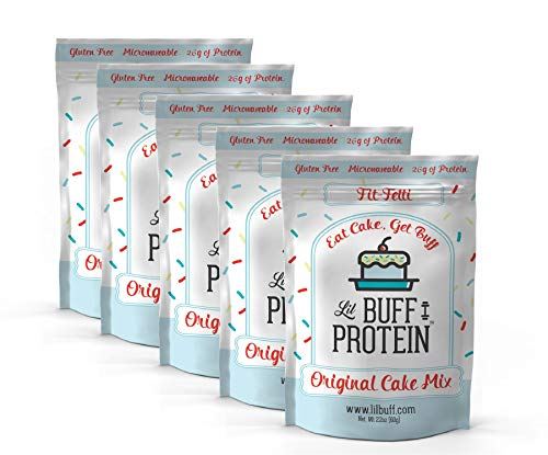 Lil Buff Protein, High Protein Cake Mix, Gluten Free, Microwaveable & 26g of Protein, High Protein Snack, Protein Waffles, Protein Donuts (Fit Fetti Cake Mix)