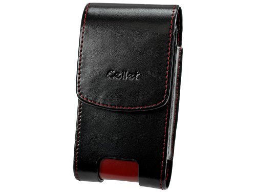 Cellet Vertical Omega Pouch for Motorola RAZR V3, V3xx, Samsung SYNC, Sanyo Katana - Black/Red