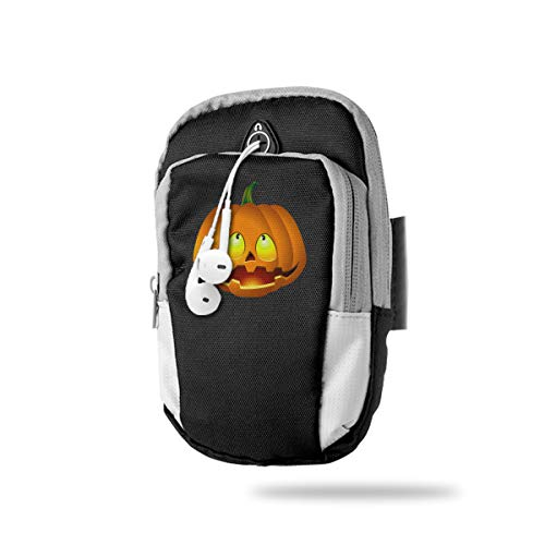 XUDONGXU Cell Phone Armband Case Holder Pumpkin Face Halloween Phone Holder Pouch with Adjustable Velcro & Key Holder to Hold Money, Cards and Keys for Running & Working Out, Walking, Hiking]()