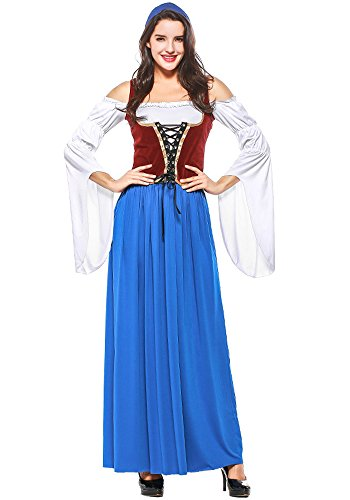 f1343c95156c Dell oktoberfest gonna Donna Xfentech Costume Bavaresi Dirndl Tradizionali  Abiti Da Eleganti Vestito q1wR7H