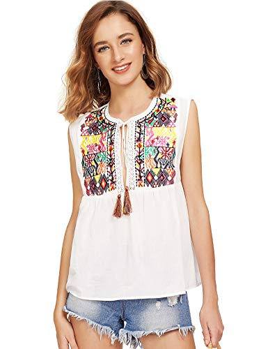 Floerns Women's Sleeveless Embroidered Tassel Tie Neck Blouse White M
