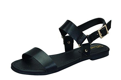 Breckelles Indio-25 Dames Dubbele Riem Platte Sandalen Zwart
