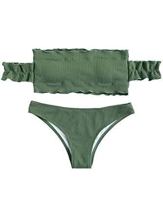 SweatyRocks Women's Sexy Bikini Set Solid Color Off Shoulder Bandeau Two Piece Swimsuit Green S