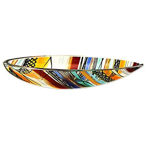 NOVICA Multicolor Glass Art Hand Blown Centerpiece Bowl, 'Rainbow Eclipse' by NOVICA